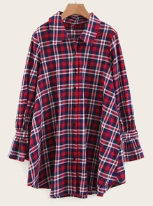 Plaid Tie Back Flounce Sleeve Shirt Dress