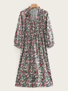 Floral Print Shirred Frill Neck Dress