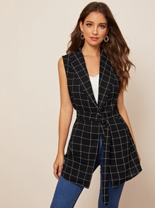 Plaid Shawl Collar Belted Vest Blazer