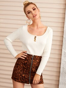 Button Front Scoop Neck Sweater