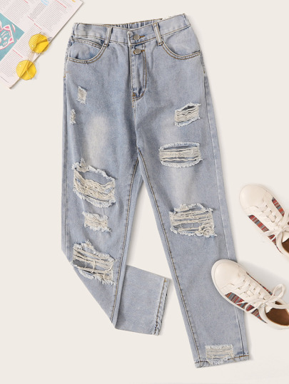 Bleach Wash Ripped Distressed Mom Jeans