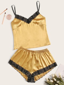 Plus Lace Trim Satin PJ Set
