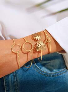 Leaf & Geometric Decor Bracelet 4pcs