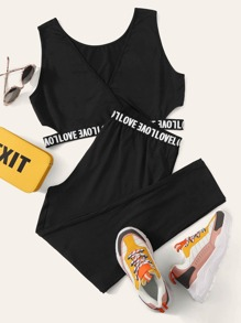 Plus Cutout Letter Tape Tank Top and Leggings Set