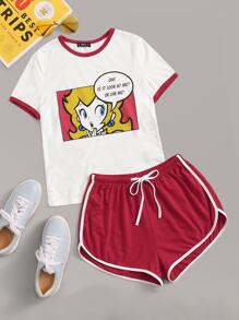 Cartoon Print Top & Dolphin Hem Ringer Shorts Set