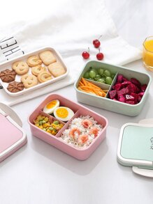 Portable Double Layer Lunch Box With Tableware 1pc
