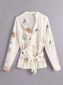 Crane Print Belted Wrap Blouse