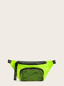 Neon Lime Contrast Mesh Fanny Pack