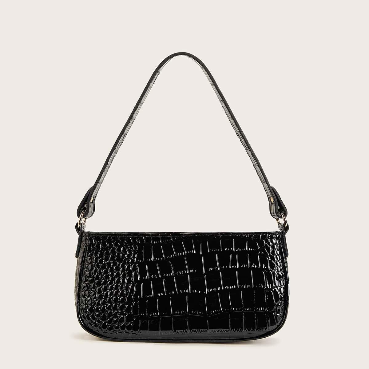 Багетная сумка с тиснением под крокодила