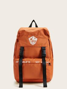 Release Buckel Detail Letter Pattern Backpack
