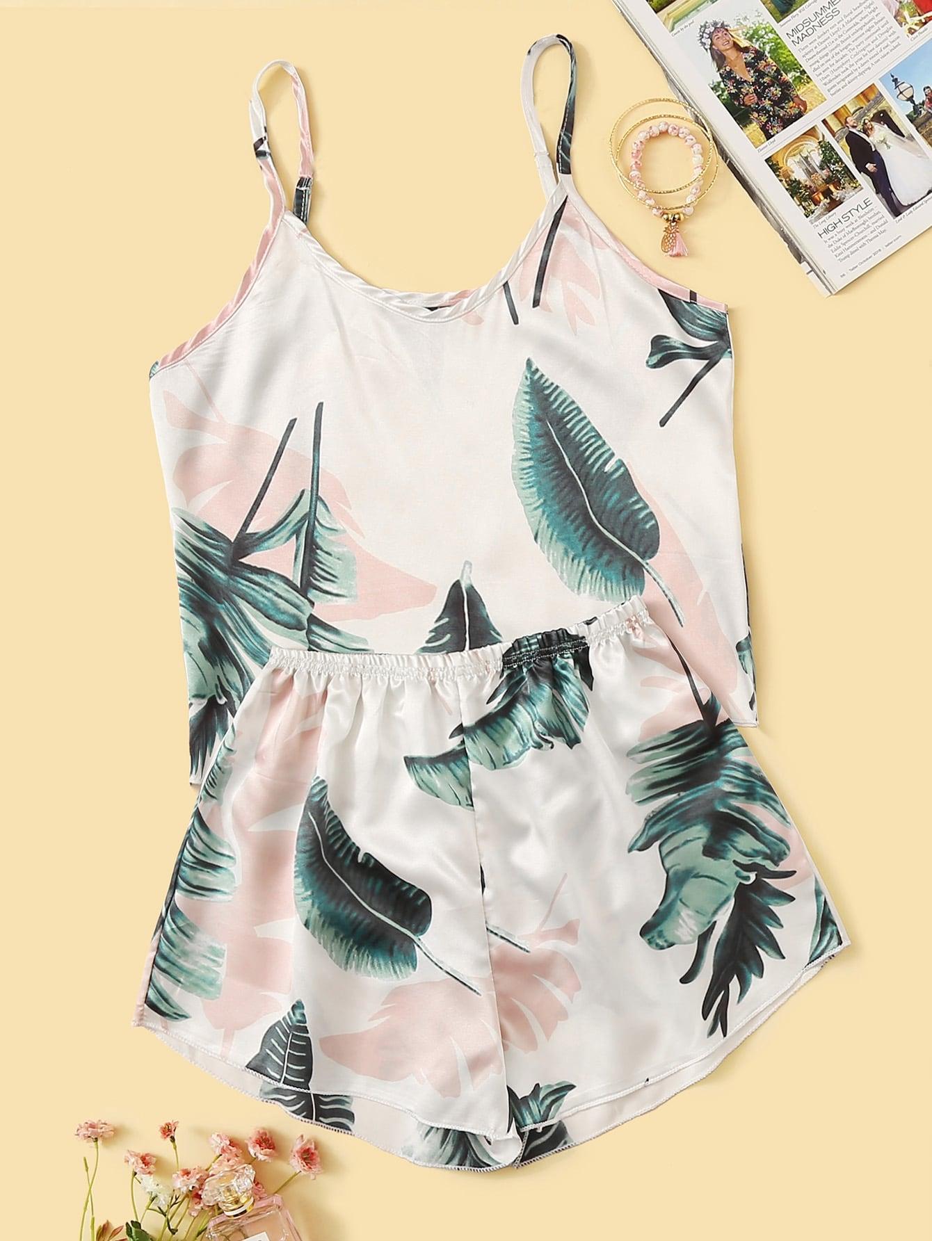 Tropical Print Satin Cami PJ Set thumbnail