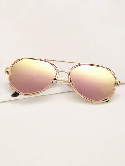Top Bar Aviator Sunglasses With Case