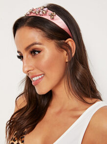 Rhinestone Flower Engraved Headband