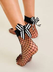 Striped Bow Knot Decor Fishnet Socks 1pair