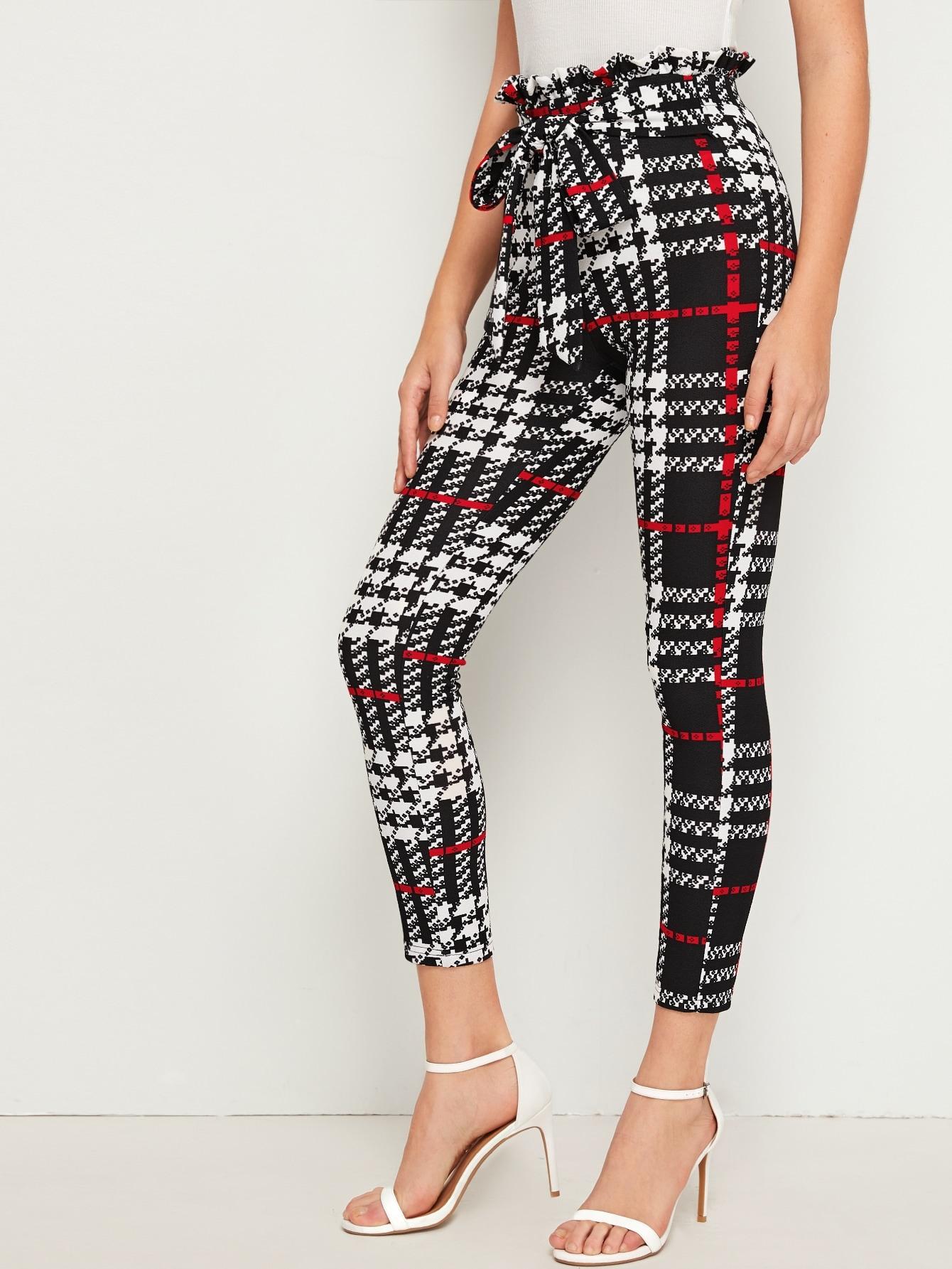 Paperbag Waist Tie Front Geo Amp Plaid Pants Shein Usa