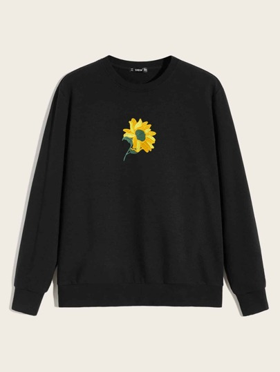 Guys Crew Neck Embroidered Sunflower Pullover