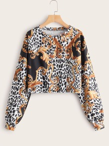 Animal Scarf Print Sweatshirt