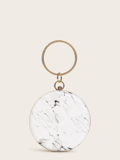 Marble Print Round Shaped Clutch Bag