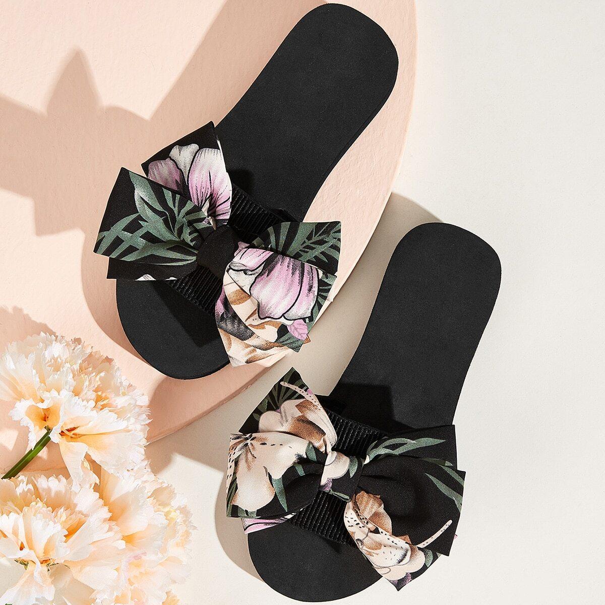 Bow Decor Open Toe Sliders, Multicolor