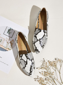 Point Toe Snakeskin Flat Loafers
