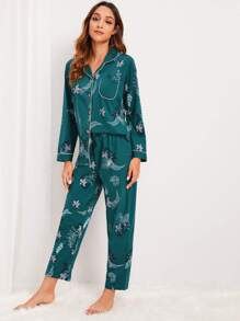 Botanical Print Button-up Pajama Set