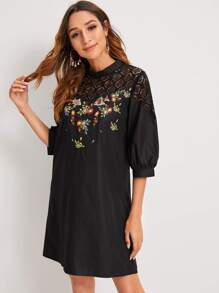 Contrast Lace Embroidery Tunic Dress
