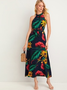 Tropical Print Tie Back Belted Halter Dress