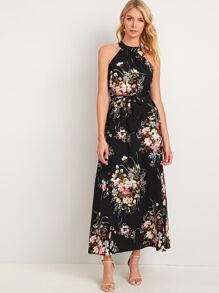 Floral Print Tie Back Belted Halter Dress