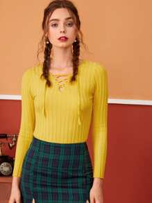 Ribbed Lace-up Neck Solid Jumper