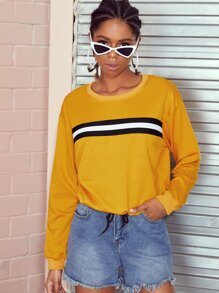 Stripe Panel Drop Shoulder Sweatshirt