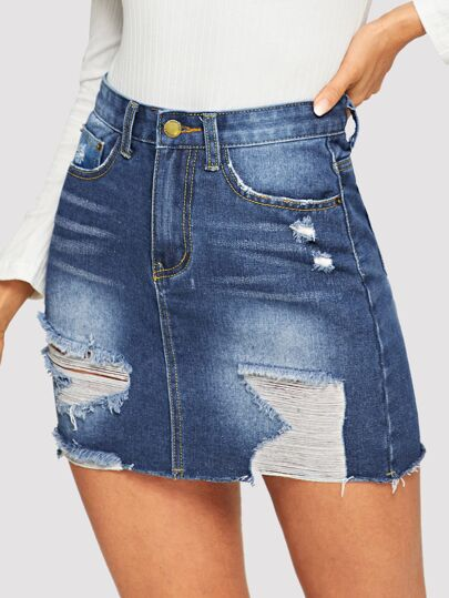 e5b7a4d8f7d 5-pocket Ripped Detail Bodycon Denim Skirt out of