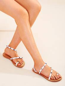 Toe Ring Studded Decor Flat Sandals