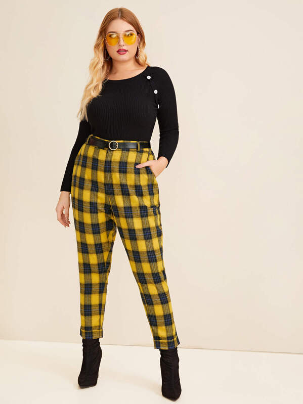Plus Plaid Button Through Pants Without Belt by Sheinside