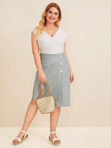 Plus Gingham Button Detail Asymmetrical Skirt
