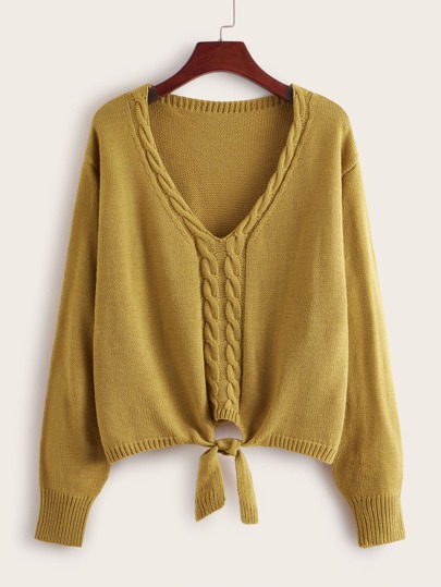 Cable Pattern Knot Hem Sweater