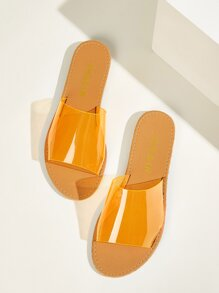 Clear Open Toe Flat Slippers
