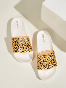 Open Toe Leopard Print Slippers