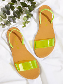 Neon Lime Slingback Flat Sandals