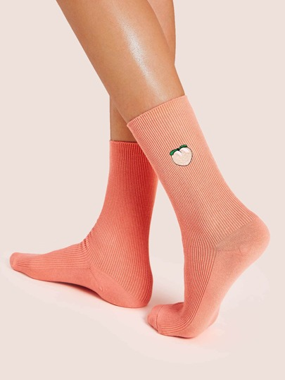Peach Pattern Socks 1pair