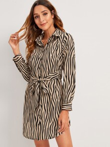 Chiffon Zebra-striped Self Tie Shirt Dress