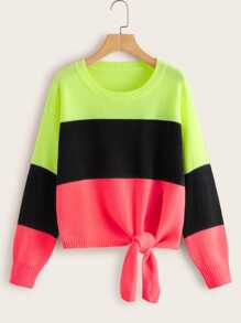 Cut And Sew Tie Front Sweater