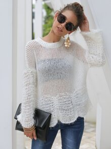 Scallop Edge Pointelle Knit Sweater