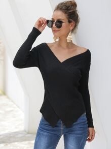 Bardot Crossover Asymmetrical Hem Sweater