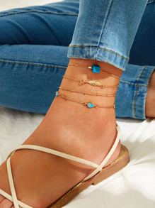 Leaf & Geometric Decor Chain Anklet 4pcs