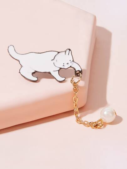 Faux Pearl Decor Cat Brooch 1pc