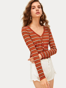 V-neck Striped Button Front Knit Top