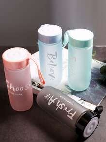 Portable Slogan Print Scrub Water Bottle 1pc