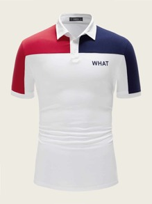 Men Letter Print Colorblock Polo Shirt