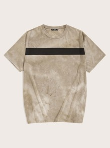 Men Tie Dye Colorblock Tee