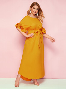 Plus Exaggerate Pleated Ruffle Cuff Self Belted Dress